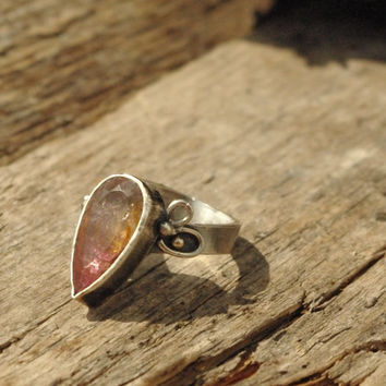 OOAK 925 sterling silver and drops of 14k gold, decorative faceted watermelon tourmaline ring