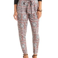 Sash-Belted Scarf Print Jogger Pants by Charlotte Russe - White Combo