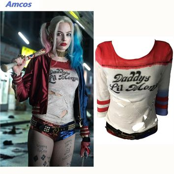 Cool Movie Suicide Squad Harley Quinn Cosplay Accessories  T-Shirt 1:1 Original Edition Woman Costumes Halloween Party Props T ShirtAT_93_12