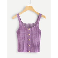 Thick Strap Button Front Crop Knit Cami Top Purple
