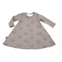 OEKO-Tex certified long sleeve dress with cats - Baby girl dress - Toddler dress - Cafe au lait, modern
