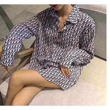 """Dior"" Women Retro Fashion Pattern Print Long Sleeve Lapel Shirt Cardigan Tops"