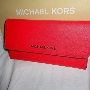 MICHAEL KORS JET SET TRAVEL LARGE TRIFOLD WALLET DARK SANGRIA LEATHER CLUTCH