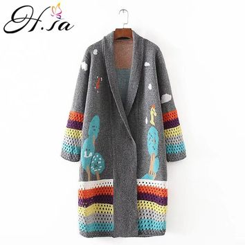 H.SA cardigan feminino 2018 Autumn Winter Long Cardigans Knitted Coat Women Cute Long Poncho Sweaters Crochet sueter mujer