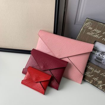 2020 New Arrivals LV Louis Vuitton 3 pieces leather pink red pouches pink purse red wallet gucci tote louis tote brown burberry tote bag tote with zipper set women gucci women wallet red gucci crossboday pink