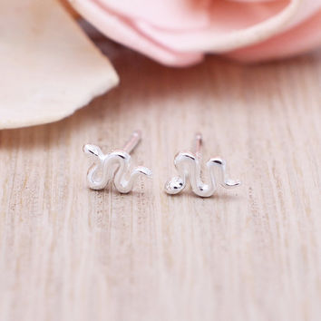 925 sterling silver Tiny Snake stud earrings
