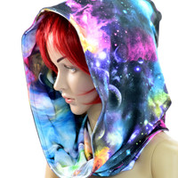 Galaxy & Swirling Smoke Hood Reversible Festival Hoodie