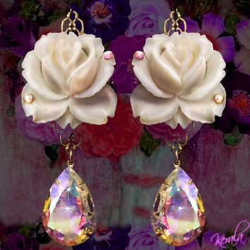 White Vintage Rose Crystal Dangle Earrings, Aurora Borealis Crystal Teardrop Earrings, Shabby-Chic Jewelry, Hypo-allergenic