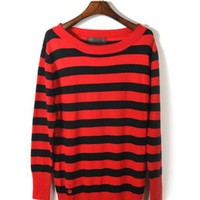 Red Striped Long-sleeve Sweater$43.00