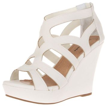 Women's Pure White Fashion Platform Gladiator Wedge Sandals