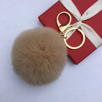 Fur pom pom keychain fur ball bag pendant charm made from Rex Rabbit Fur Light Beige Brown