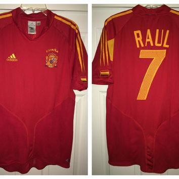 Sale!! Vintage Adidas SPAIN Soccer Jersey ESPANA Football Shirt #7 Raul Gonzales
