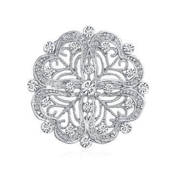 Floral Heart Shaped CZ Pin Brooch Vintage Style Rhodium Plated Brass