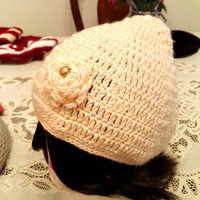 "L/XL Peachy Pink ""Handmade"" Crochet Beanie. Ready to Ship"
