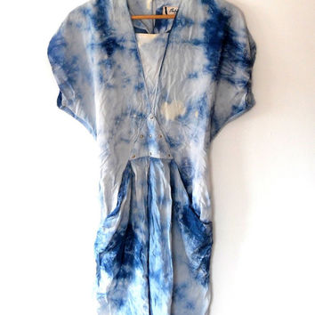 Tye dye off white and blue dress / silky / silver / studded / pyramid / reworked / retro / vintage / 1980s / festival / wing sleeve dress