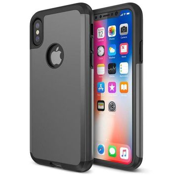 DCCKV2S Trianium Protanium iPhone X Case with Reinforced Corner Cushion TPU Bumper / Rigid Hard Back Panel / Heavy Duty Drop Protection / Scratch Resistant Cover For Apple iPhone X / 10 Phone (2017)-Gunmetal