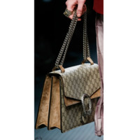 Gucci Women Print Shopping Leather Metal Chain Crossbody Shoulder Bag G