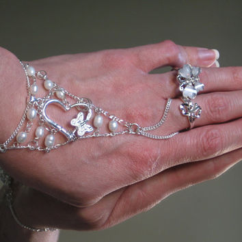 Bridal Heart Pearl Slave Bracelet Ring by TheMysticalOasisGlow