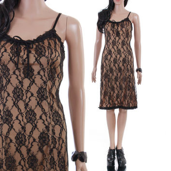 90s Betsey Johnson Black Lace Nude Dress Summer Midi Slip Goth LBD Cocktail Designer 1990's Vintage Clothing Womens Size Small Medium