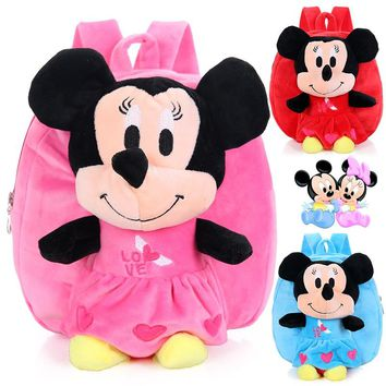 Korean Style 3 Colors Mickey Mouse Plush Backpacks for 1-3 Years' Old Minnie Mouse Backpack Cute Cartoon Schoolbag for Kid