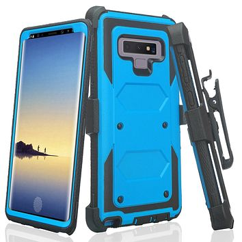 Samsung Galaxy Note 9 , SM-N960U Case, Triple Protection Heavy Duty Rotating Swivel Holster Shell Combo - Blue