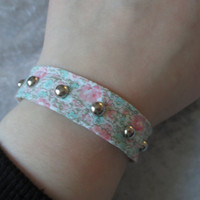 floral pastel goth bracelet with studs by OfStarsAndWine on Etsy