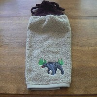 Embroidered Black Bear Hanging Dishtowel and Hand Knit Topper and Ties   hollyknittercreations - Housewares on ArtFire