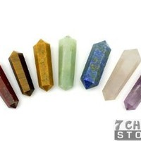 7 Chakra StonesTM Double Terminated Chakra Pencil Set with Velvet Pouches