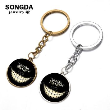 SONGDA New Alice in Wonderland Cheshire Cat Keychain We're all Mad Here Quote Handmade Glass Dome Key Chain Porte Clef Jewelry