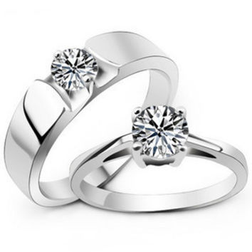 .925 Sterling Silver Zirconium Diamond Ring for Couples Jewelry WOMEN-Size 7