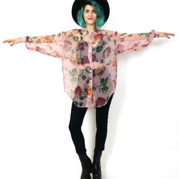 90s Sheer Floral Blouse Pink Garden Print Button Down Shirt Slouchy Oversize Girly Hipster Long Sleeve Top (M/L)