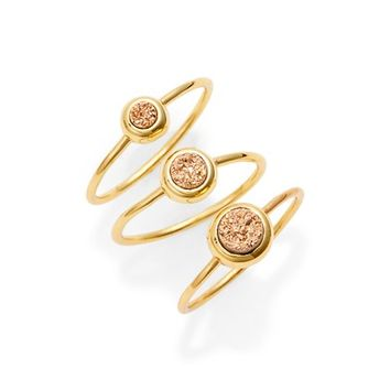 gorjana Astoria Drusy Set of 3 Rings | Nordstrom
