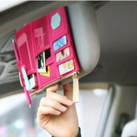 Multi-functional Auto Car Clip Sunvisor Car Storage Bag Pink