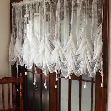 Rural Sheer Curtain Lace Hollow Balloon Blind Vintage Curtain Valance Finished Cafe Curtain Sheer for Home Hotel