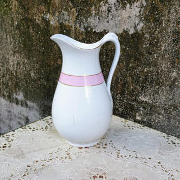 John Maddock and Sons  Ironstone China Large Water Pitcher Pink Stripe Staffordshire England