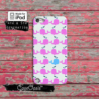 Whale Pattern Pink and Blue Cute Ocean Tumblr iPod Touch 4th Generation or iPod Touch 5th Generation Rubber or Plastic Case