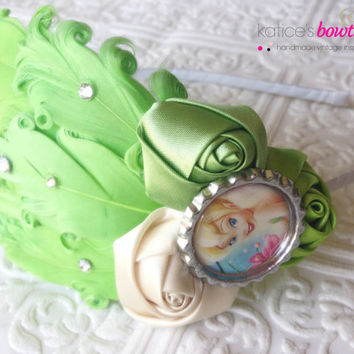 Tinkerbell Headband of Lime Green and Champagne Fancy Feather Flapper Girl Headband with Swarovski Crystals