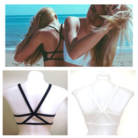 Woman's Strappy Star Black Bra Bralette Lingerie Festival Beach Preppy Fashion Wear