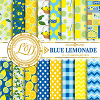 Blue Lemonade Paper Pack, Picnic Paper, chevron, polka dots, stripes, yellow, Lemon Scrapbook Paper and Backgrounds Commercial-Personal Use