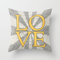 love - yellow Throw Pillow by her art