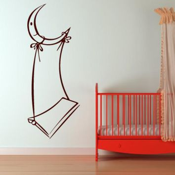 Wall Vinyl Decal Sticker Bedroom Decal Nursery Kids Baby Swing Crescent  z644