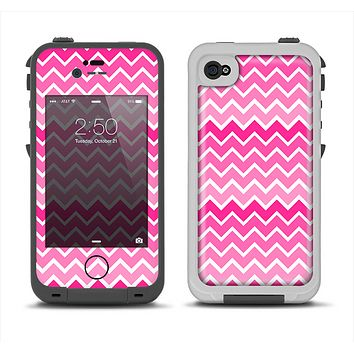 The Pink & White Ombre Chevron V2 Pattern Apple iPhone 4-4s LifeProof Fre Case Skin Set