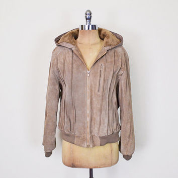 Vintage 70s 80s Brown Leather Jacket Coat Suede Jacket Faux Shearling Jacket Sherpa Jacket Hood Hoodie Bomber Jacket Hippie Jacket M Medium