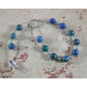 Nerthus Pocket Prayer Beads in Malachite-Azurite: Norse Goddess of Abundance and Fertility