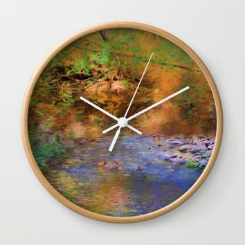 Fantasy Lake Stream Wall Clock by Theresa Campbell D'August Art