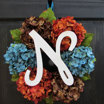 Blue, Brown & Orange Hydrangea Monogram Wreath