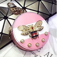 """GUCCI"" New Popular Women Chic Pearl Bee Bag Hanging Drop Car Key Chain Bag Zero Wallet Accessories Couple Gift Pink"