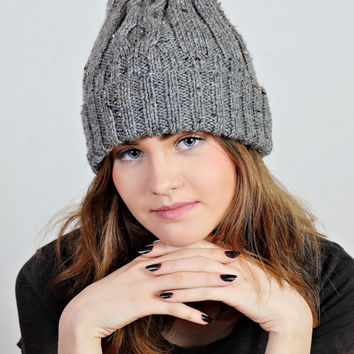 Gray beanie hat, gray knit hat,tweed wool beanie,gray beanie hat,wool knit beanie,universal knit hat,hand knit hat,Ready to ship