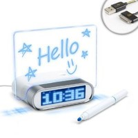 ENHANCE Glowing Memo Alarm Clock with 4 Port USB 2.0 Hub & Blue LED Time/Date/Temperature Display - Works with Apple , Samsung , HTC , LG , Sony and more Smartphones , Tablets & MP3 Players **Bonus Cleaning Cloth + Accessory Bag**