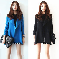 New Winter Coat Jacket Korean Woman Luxury Fashion Simple Big Temperament Windbreaker Jacket Outwear 7_S (Size: XXL, Color: Blue) = 1905814020